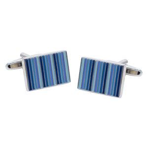 Classic Shades of Blue Stripes Cufflinks