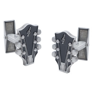 Novelty Guitar Top Cufflinks in Black and With Treble Cleff Head